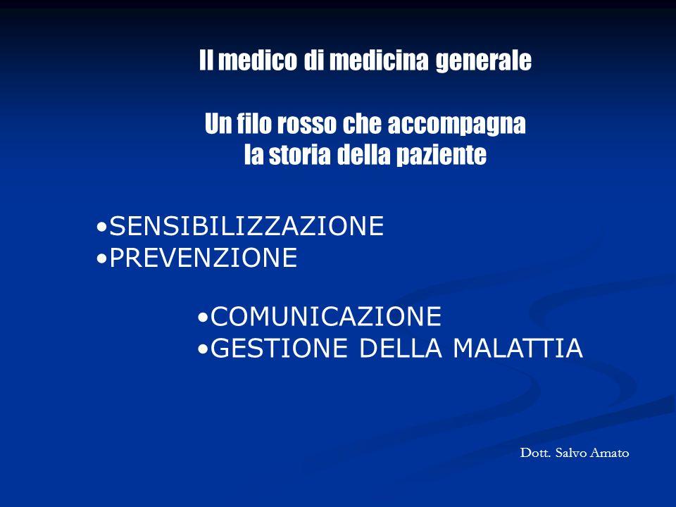 COMUNICAZIONE GESTIONE DELLA MALATTIA Il medico di medicina generale Un filo rosso che accompagna la storia della paziente SENSIBILIZZAZIONE PREVENZIO