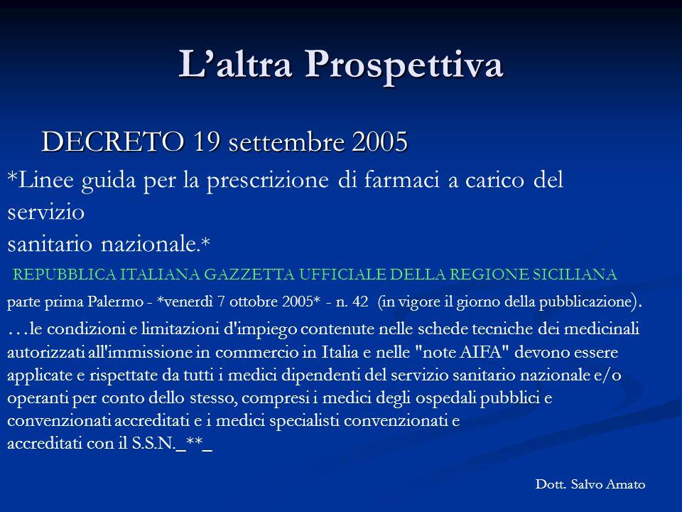 Laltra Prospettiva DECRETO 19 settembre 2005 *Linee guida per la prescrizione di farmaci a carico del servizio sanitario nazionale.* REPUBBLICA ITALIA