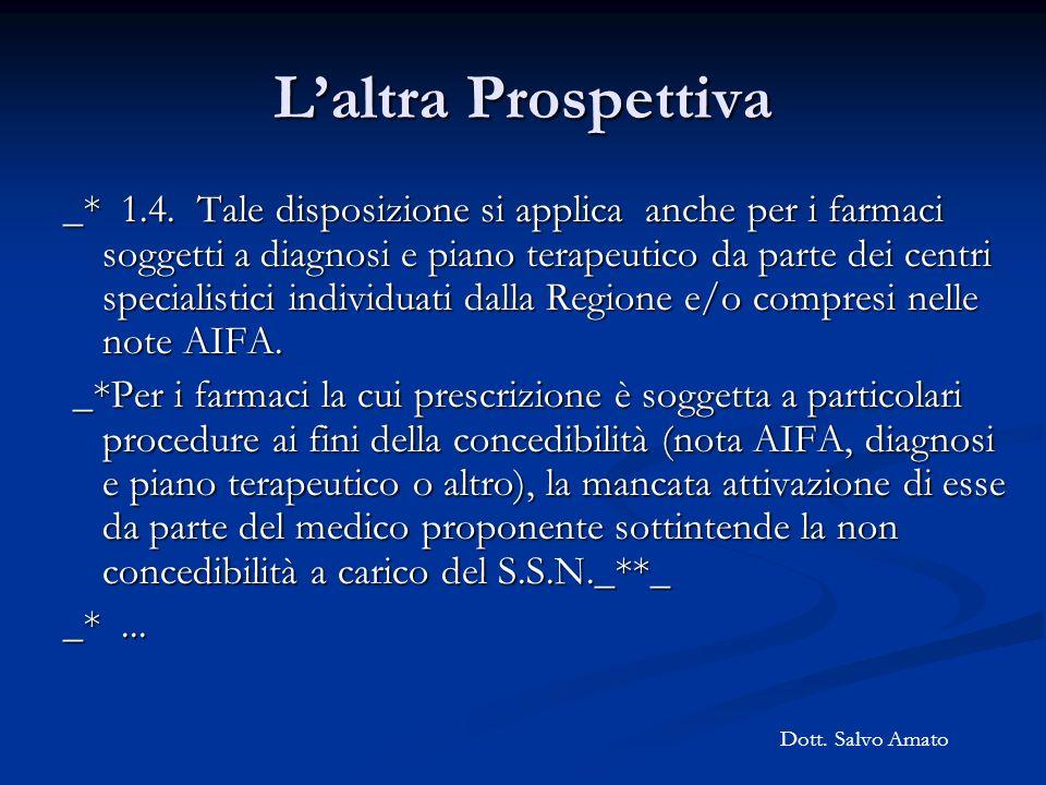 Laltra Prospettiva _* 1.4. Tale disposizione si applica anche per i farmaci soggetti a diagnosi e piano terapeutico da parte dei centri specialistici