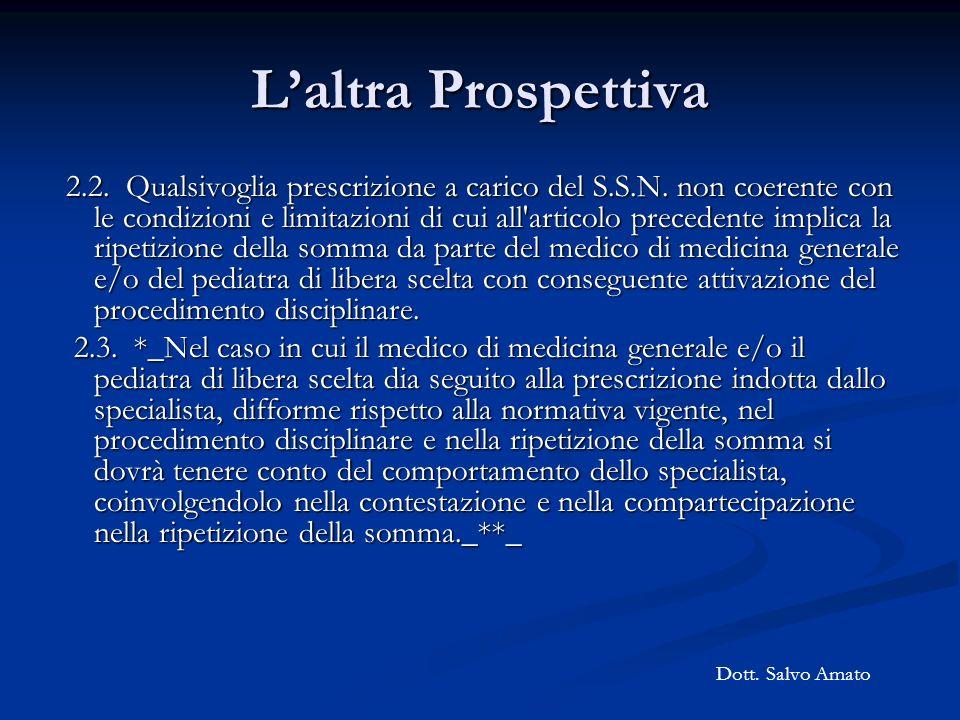 Laltra Prospettiva 2.2. Qualsivoglia prescrizione a carico del S.S.N. non coerente con le condizioni e limitazioni di cui all'articolo precedente impl
