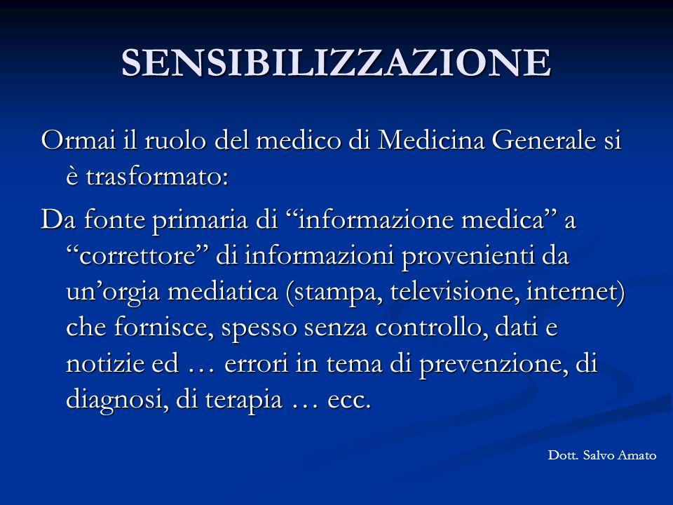 SENSIBILIZZAZIONE Ormai il ruolo del medico di Medicina Generale si è trasformato: Da fonte primaria di informazione medica a correttore di informazio
