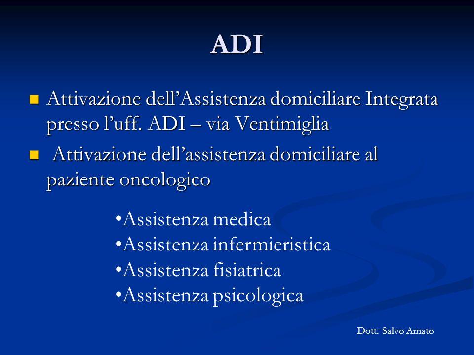 ADI Attivazione dellAssistenza domiciliare Integrata presso luff. ADI – via Ventimiglia Attivazione dellAssistenza domiciliare Integrata presso luff.