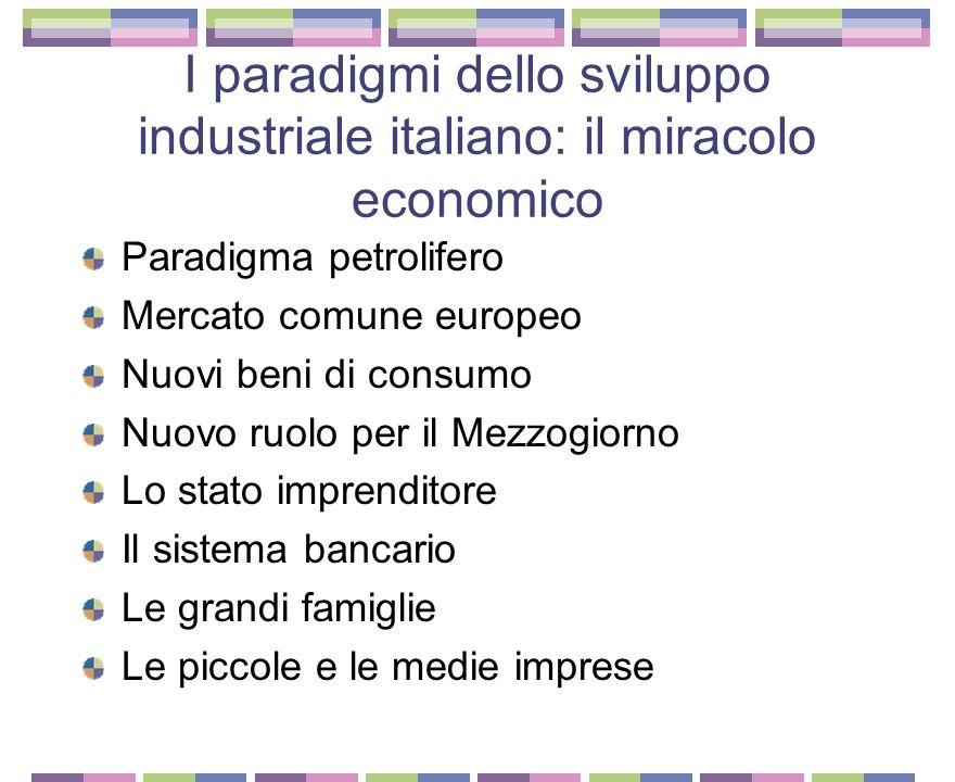 I paradigmi dello sviluppo industriale italiano: la belle epoque LItalia inizia a recuperare il terreno perduto Ma lo sviluppo si concentra solo nellI