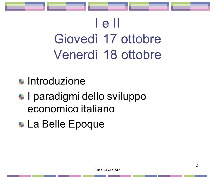 1 nicola crepax Nicola Crepax CORSO DI STORIA DELLIMPRESA Università Cattaneo - Liuc email: ncrepax@liuc.it a.a. 2002-2003