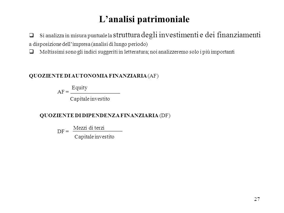 27 Lanalisi patrimoniale Si analizza in misura puntuale la struttura degli investimenti e dei finanziamenti a disposizione dellimpresa (analisi di lun