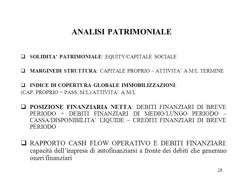 28 ANALISI PATRIMONIALE SOLIDITA PATRIMONIALE: EQUITY/CAPITALE SOCIALE MARGINEDI STRUTTURA: CAPITALE PROPRIO – ATTIVITA A M/L TERMINE INDICE DI COPERTURA GLOBALE IMMOBILIZZAZIONI: (CAP.