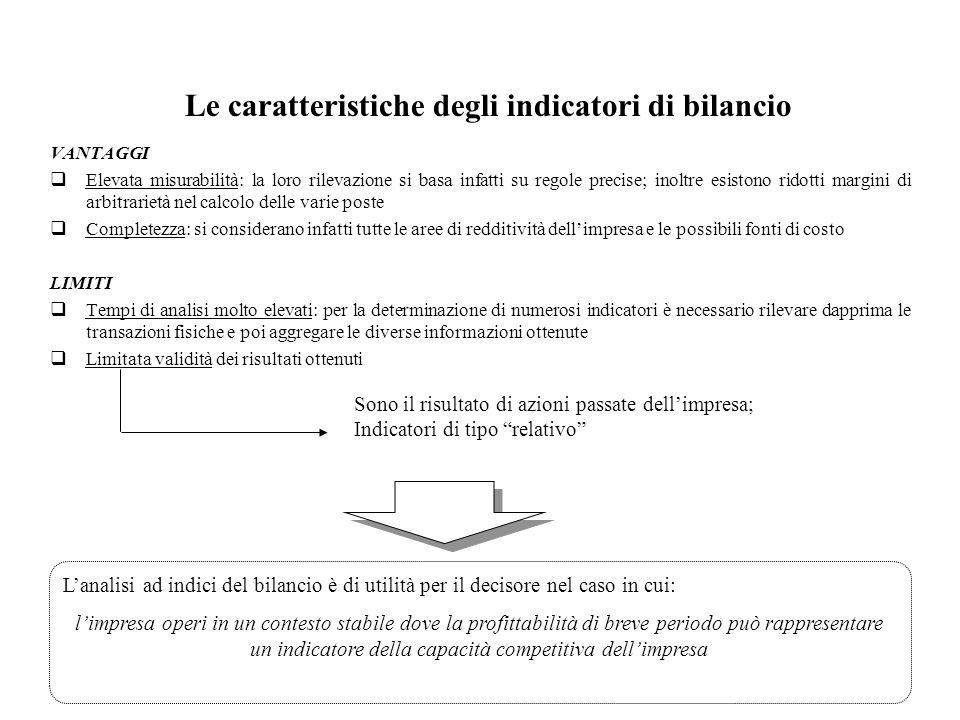 29 Le caratteristiche degli indicatori di bilancio VANTAGGI Elevata misurabilità: la loro rilevazione si basa infatti su regole precise; inoltre esist