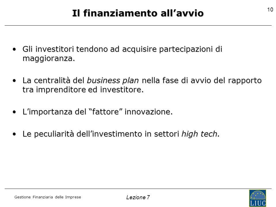 Gestione Finanziaria delle Imprese Lezione 7 10 Gli investitori tendono ad acquisire partecipazioni di maggioranza.Gli investitori tendono ad acquisir