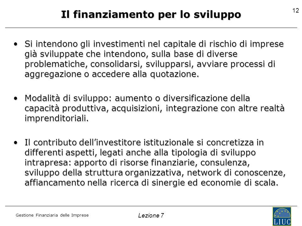 Gestione Finanziaria delle Imprese Lezione 7 12 Il finanziamento per lo sviluppo Si intendono gli investimenti nel capitale di rischio di imprese già