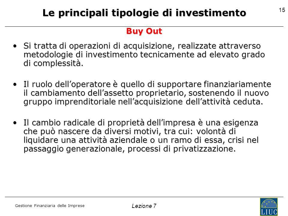 Gestione Finanziaria delle Imprese Lezione 7 15 Si tratta di operazioni di acquisizione, realizzate attraverso metodologie di investimento tecnicament