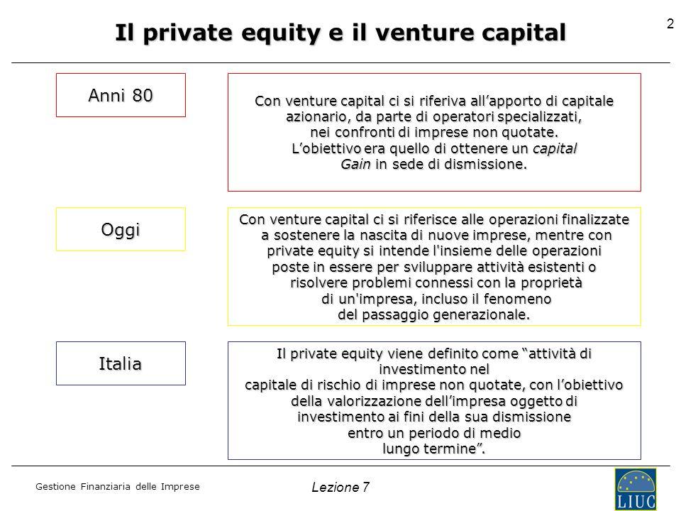 Gestione Finanziaria delle Imprese Lezione 7 2 Il private equity e il venture capital Anni 80 Con venture capital ci si riferiva allapporto di capital