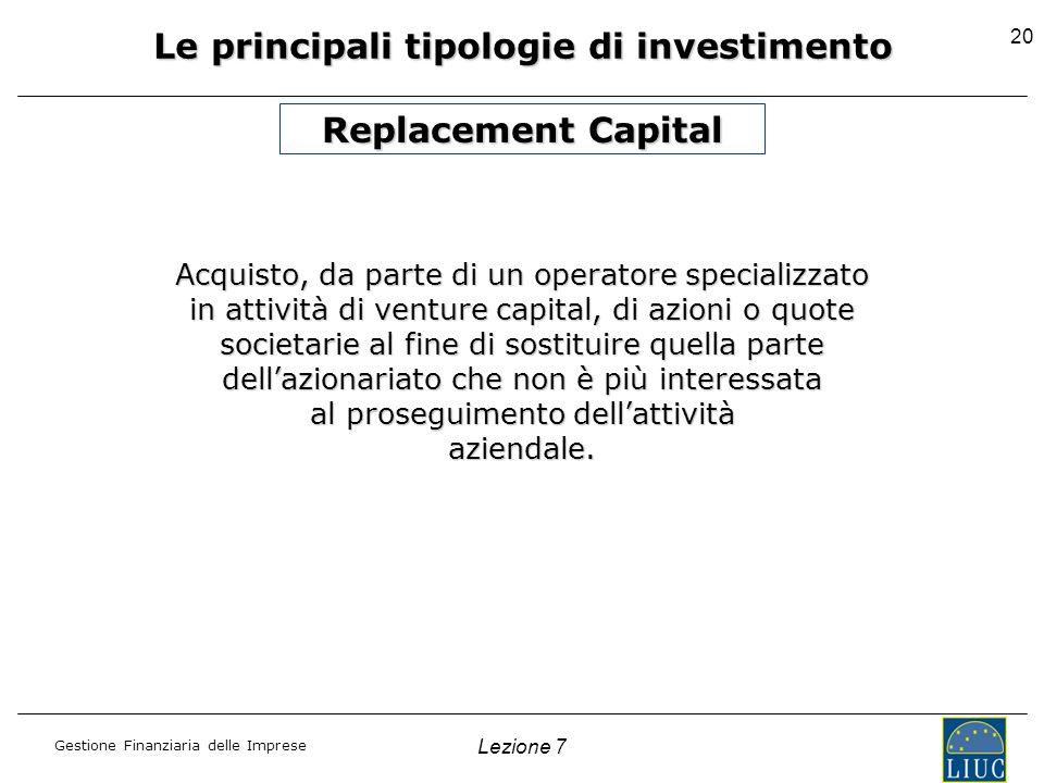 Gestione Finanziaria delle Imprese Lezione 7 20 Le principali tipologie di investimento Acquisto, da parte di un operatore specializzato in attività d