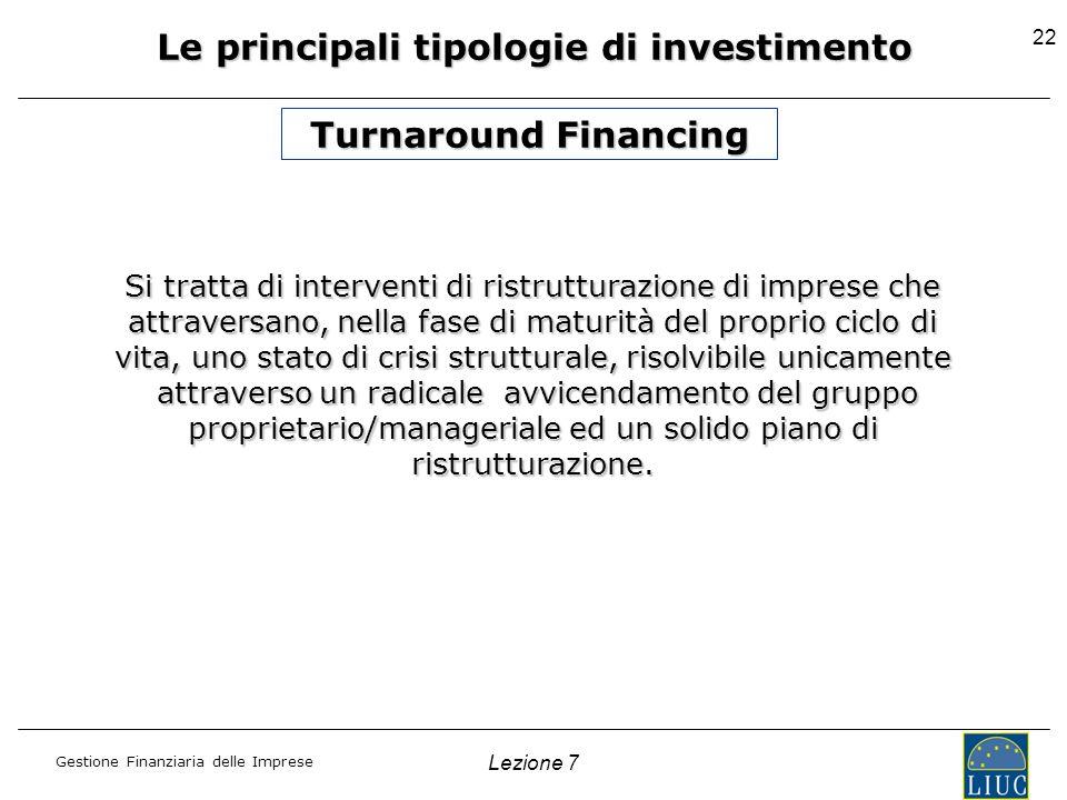 Gestione Finanziaria delle Imprese Lezione 7 22 Le principali tipologie di investimento Turnaround Financing Si tratta di interventi di ristrutturazio