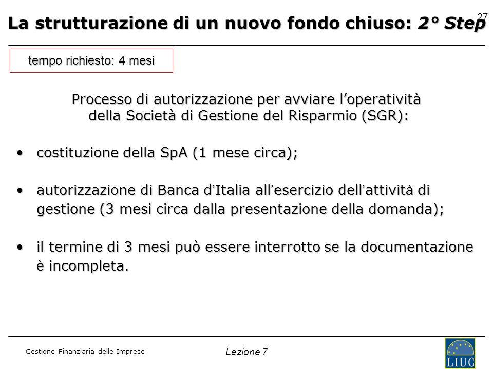 Gestione Finanziaria delle Imprese Lezione 7 27 La strutturazione di un nuovo fondo chiuso: 2° Step tempo richiesto: 4 mesi costituzione della SpA (1