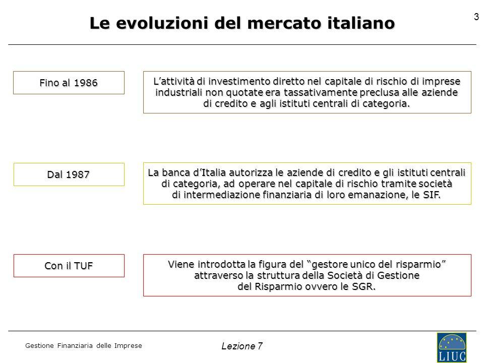 Gestione Finanziaria delle Imprese Lezione 7 3 Le evoluzioni del mercato italiano Fino al 1986 Lattività di investimento diretto nel capitale di risch