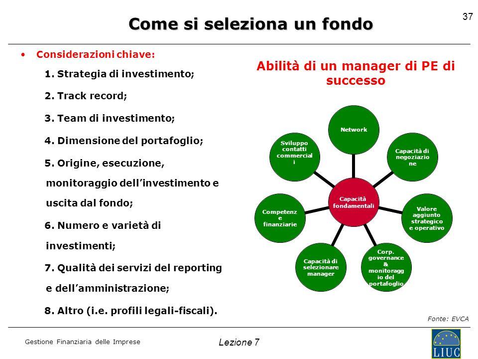 Gestione Finanziaria delle Imprese Considerazioni chiave: 1. Strategia di investimento; 2. Track record; 3. Team di investimento; 4. Dimensione del po
