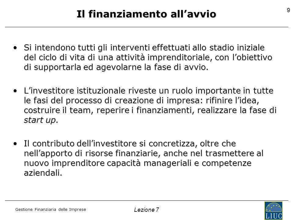 Gestione Finanziaria delle Imprese Lezione 7 9 Il finanziamento allavvio Si intendono tutti gli interventi effettuati allo stadio iniziale del ciclo d