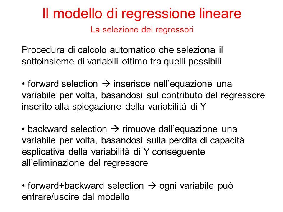 Procedura di calcolo automatico che seleziona il sottoinsieme di variabili ottimo tra quelli possibili forward selection inserisce nellequazione una v
