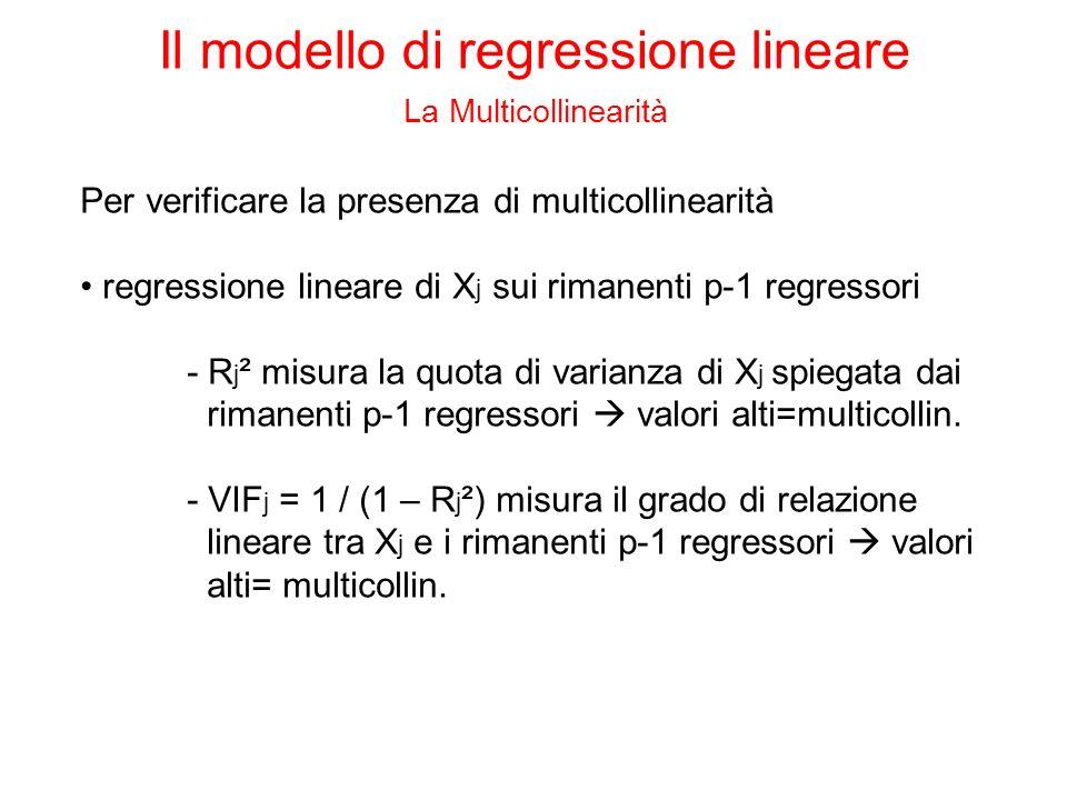 Per verificare la presenza di multicollinearità regressione lineare di X j sui rimanenti p-1 regressori - R j ² misura la quota di varianza di X j spi