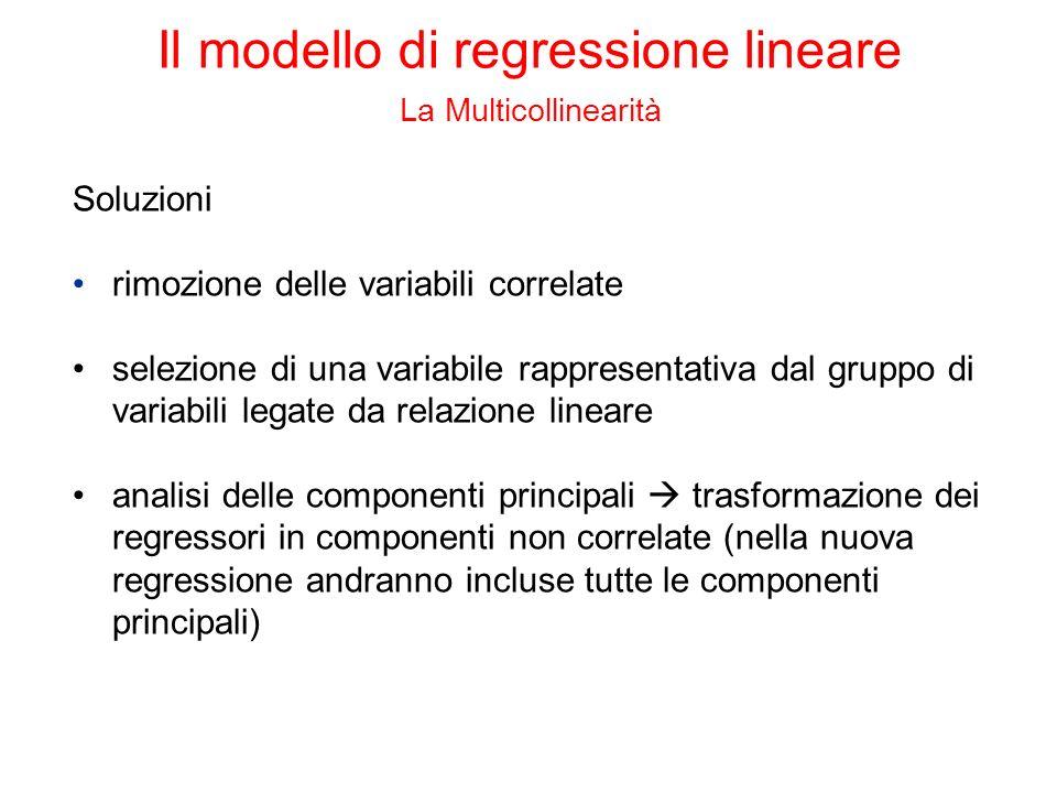 Soluzioni rimozione delle variabili correlate selezione di una variabile rappresentativa dal gruppo di variabili legate da relazione lineare analisi d