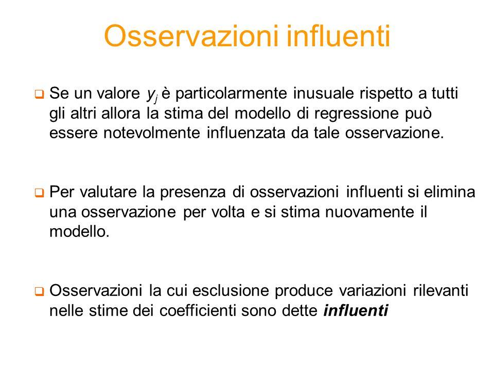 Osservazioni influenti Se un valore y j è particolarmente inusuale rispetto a tutti gli altri allora la stima del modello di regressione può essere no