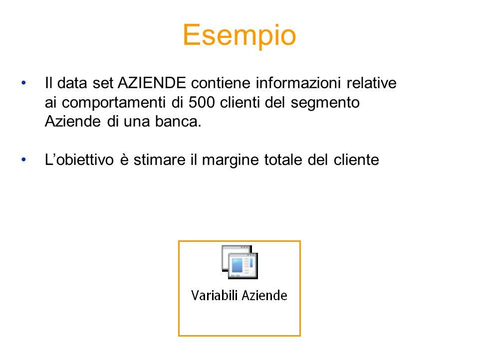 Esempio Il data set AZIENDE contiene informazioni relative ai comportamenti di 500 clienti del segmento Aziende di una banca. Lobiettivo è stimare il