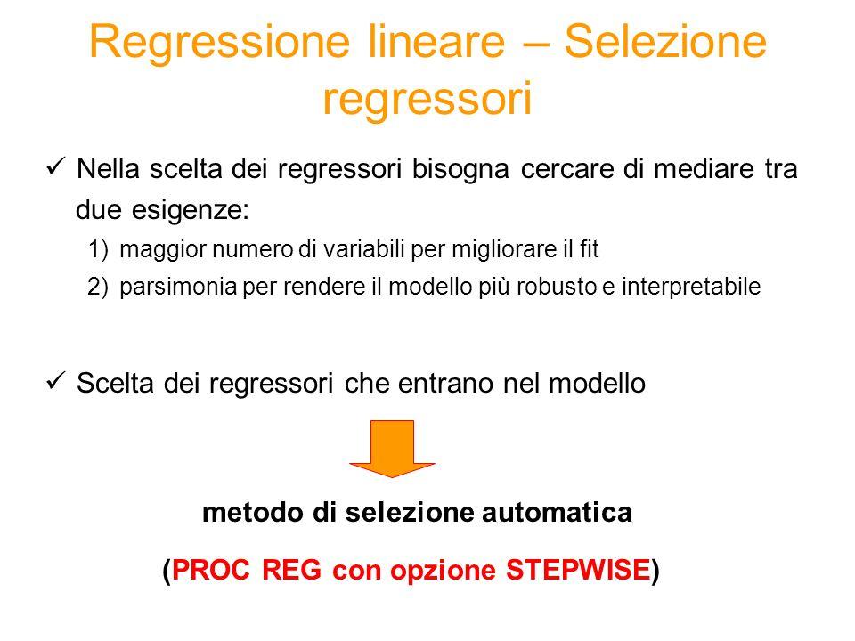Sintassi La PROC REG fornisce nelloutput i valori della distanza di Cook e del levarage H per ogni osservazione del dataset: proc reg data=dataset; model variabile_dipendente= regressore_1...