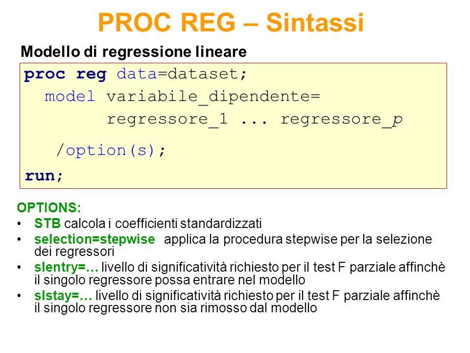 Metodi di selezione automatica - Stepwise - Procedura sequenziale che valuta lingresso/uscita dal modello dei singoli regressori (in base a indicatori legati allR-quadro) Step 0 si considerano tutti i potenziali regressori Step 1 entra il primo regressore.