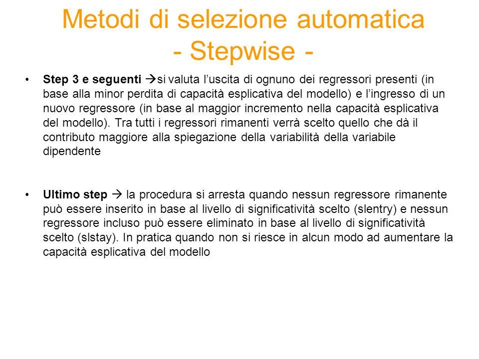 Esempio Output regressione stepwise : proc reg data=corso.aziende; model tot_margine= lista 66 regressori /stb selection= stepwise slentry=0.01 slstay=0.01; run;
