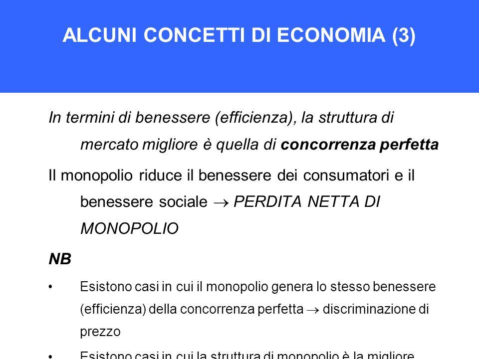 ALCUNI CONCETTI DI ECONOMIA (3) In termini di benessere (efficienza), la struttura di mercato migliore è quella di concorrenza perfetta Il monopolio r