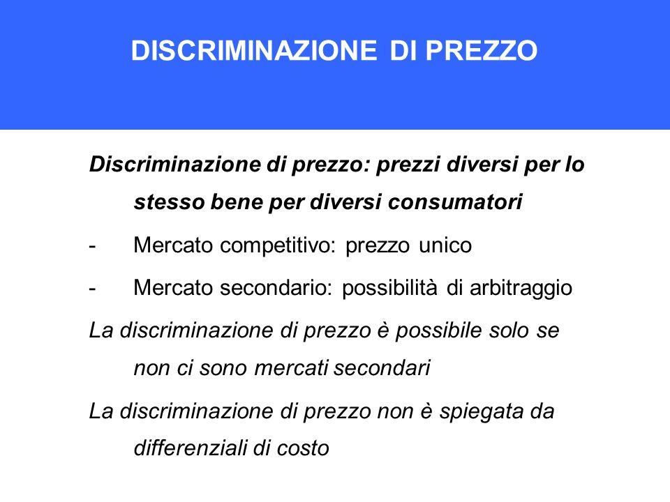 DISCRIMINAZIONE DI PREZZO Discriminazione di prezzo: prezzi diversi per lo stesso bene per diversi consumatori -Mercato competitivo: prezzo unico -Mer