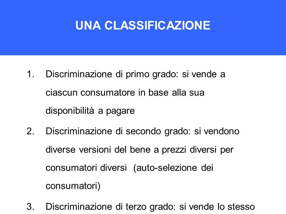 UNA CLASSIFICAZIONE 1.Discriminazione di primo grado: si vende a ciascun consumatore in base alla sua disponibilità a pagare 2.Discriminazione di seco