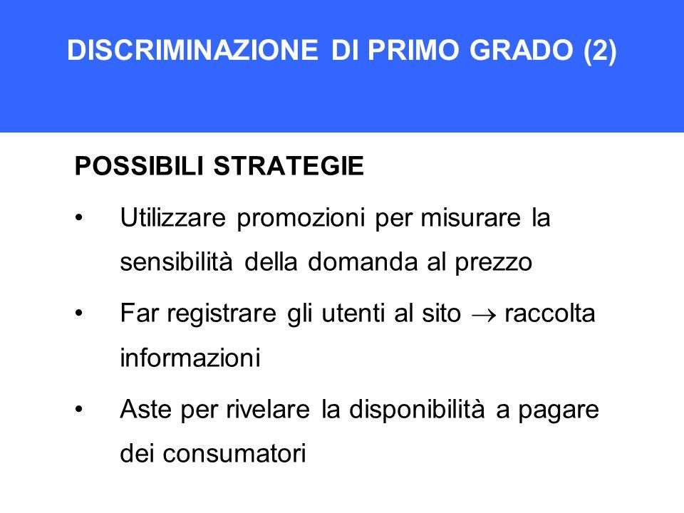DISCRIMINAZIONE DI PRIMO GRADO (2) POSSIBILI STRATEGIE Utilizzare promozioni per misurare la sensibilità della domanda al prezzo Far registrare gli ut