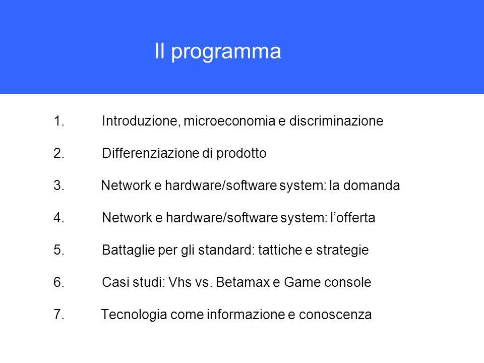 Il programma 1.Introduzione, microeconomia e discriminazione 2.Differenziazione di prodotto 3.Network e hardware/software system: la domanda 4.Network
