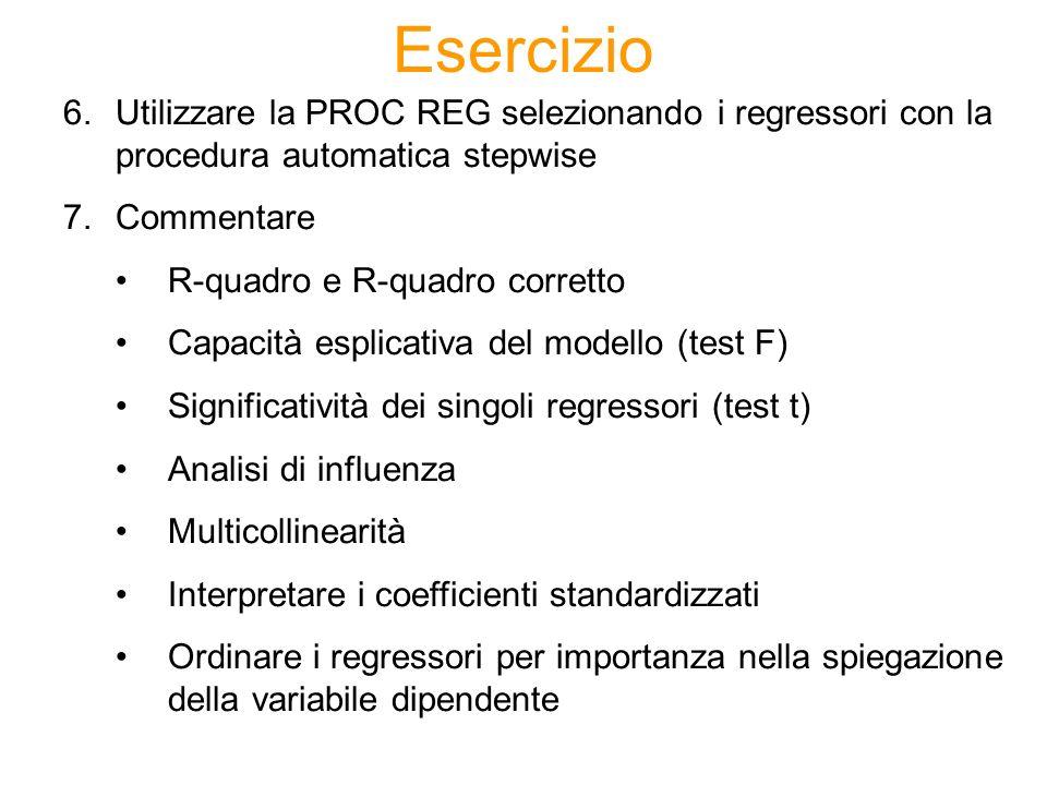 Esercizio 6.Utilizzare la PROC REG selezionando i regressori con la procedura automatica stepwise 7.Commentare R-quadro e R-quadro corretto Capacità e