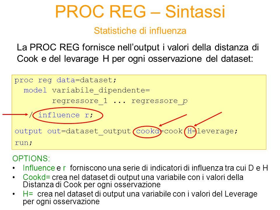 PROC REG – Sintassi Statistiche di influenza La PROC REG fornisce nelloutput i valori della distanza di Cook e del levarage H per ogni osservazione de