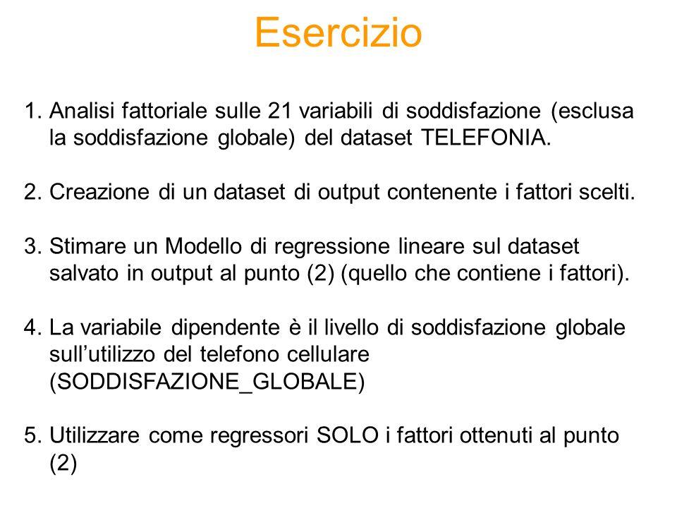 Esercizio 1.Analisi fattoriale sulle 21 variabili di soddisfazione (esclusa la soddisfazione globale) del dataset TELEFONIA. 2.Creazione di un dataset