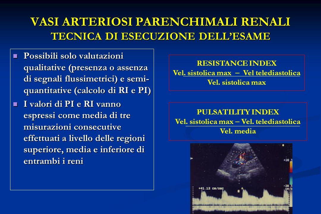 FLUSSO ARTERIOSO INTRARENALE NEL SOGGETTO NORMALE Spettro Doppler normale: picco sistolico precoce seguito da flusso continuo durante la diastole (parenchima a basse resistenze vascolari) RI nella popolazione normale adulta 0,58 ± 0.05Platt JF, AJR 1989 0.62 ± 0.04Kim SH, J Ultrasound Med 1990 0.59 ± 0.013Sauvain JL, Ann Radiologie 1991 0,57 ± 0,04Knapp R, J Ultrasound Med 1995 0,60 ± 0,01Keogan M, Radiology 1996 0,60 ± 0,01Keogan M, Radiology 1996