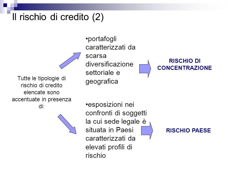 Il rischio di credito (2) Tutte le tipologie di rischio di credito elencate sono accentuate in presenza di: portafogli caratterizzati da scarsa divers