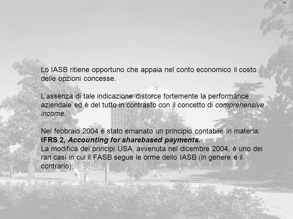 m&m Lo IASB ritiene opportuno che appaia nel conto economico il costo delle opzioni concesse.
