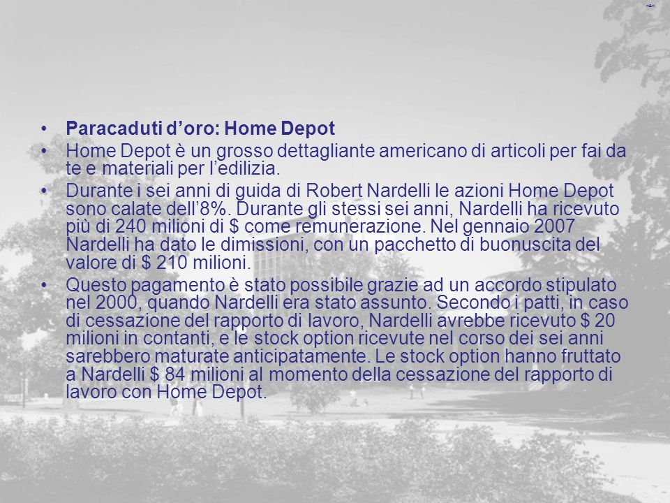 m&m Paracaduti doro: Home Depot Home Depot è un grosso dettagliante americano di articoli per fai da te e materiali per ledilizia.