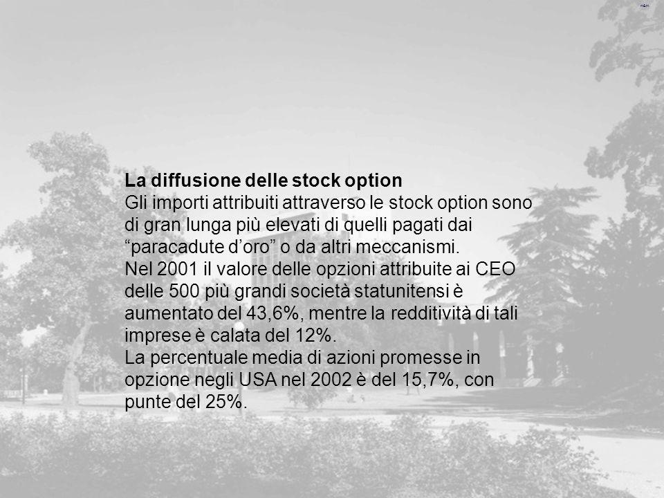 m&m La diffusione delle stock option Gli importi attribuiti attraverso le stock option sono di gran lunga più elevati di quelli pagati dai paracadute doro o da altri meccanismi.