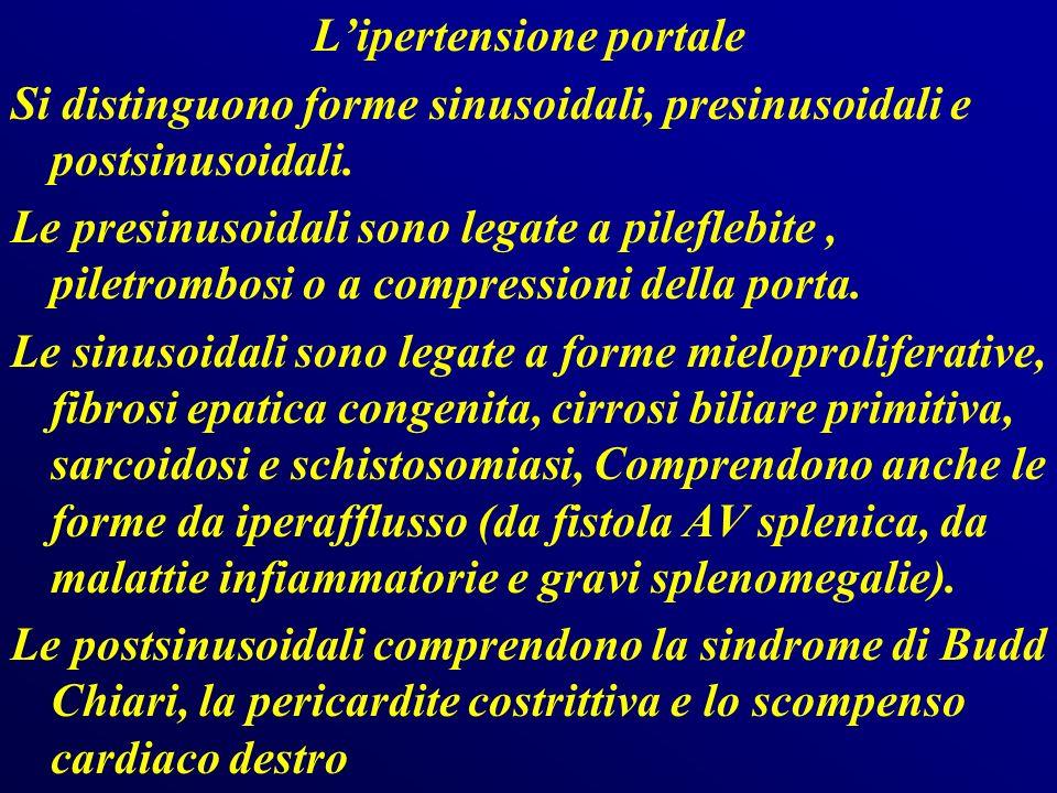 In Europa la causa prevalente dipertensione portale è la cirrosi epatica, mentre in Asia e sudamerica prevalgono schistosomiasi, la fibrosi portale non cirrotica e la trombosi extrepatica della vena porta.