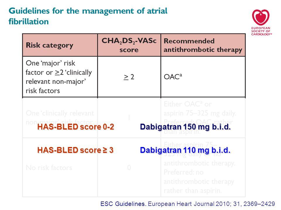 HAS-BLED score 0-2 Dabigatran 150 mg b.i.d. HAS-BLED score 3 Dabigatran 110 mg b.i.d.