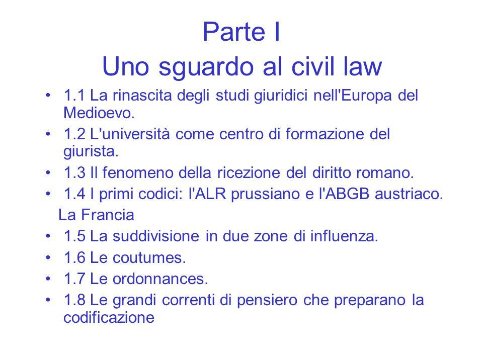 Parte I Uno sguardo al civil law 1.1 La rinascita degli studi giuridici nell'Europa del Medioevo. 1.2 L'università come centro di formazione del giuri