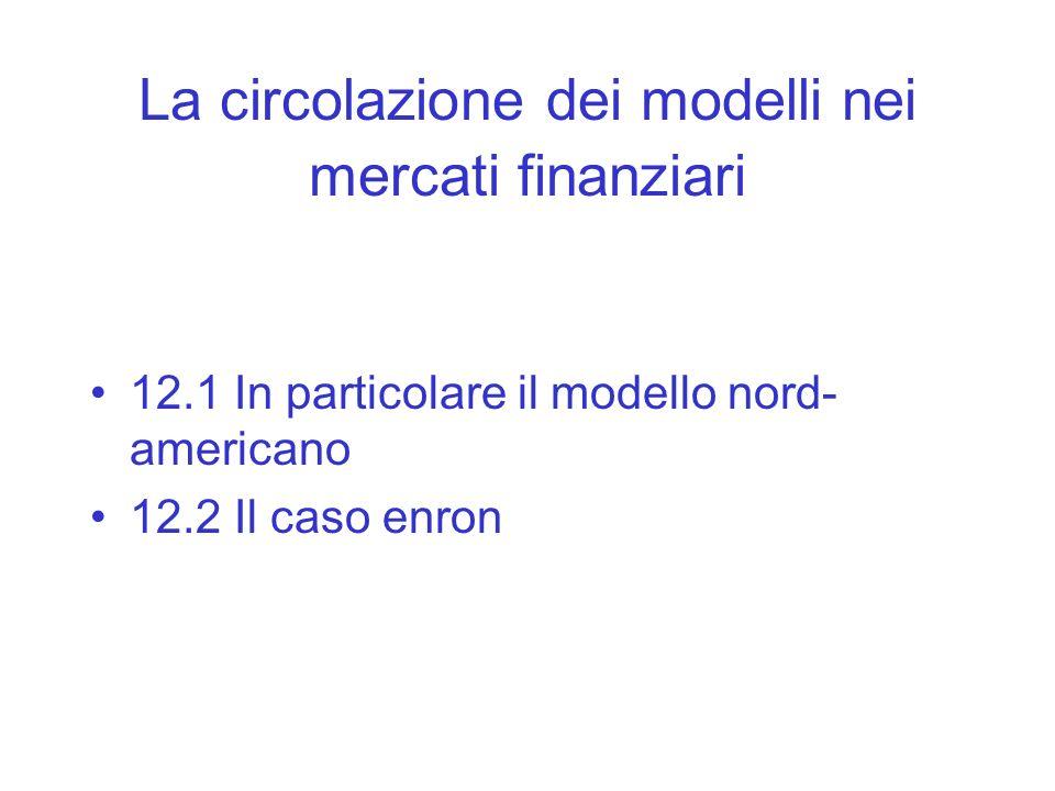 La circolazione dei modelli nei mercati finanziari 12.1 In particolare il modello nord- americano 12.2 Il caso enron