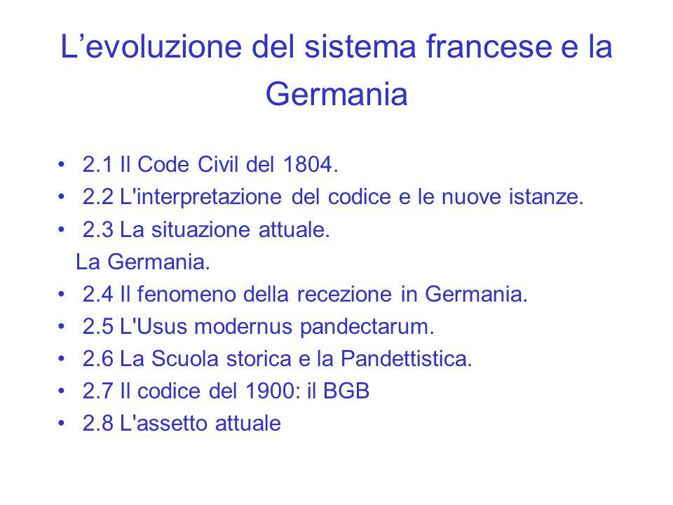 Levoluzione del sistema francese e la Germania 2.1 Il Code Civil del 1804. 2.2 L'interpretazione del codice e le nuove istanze. 2.3 La situazione attu