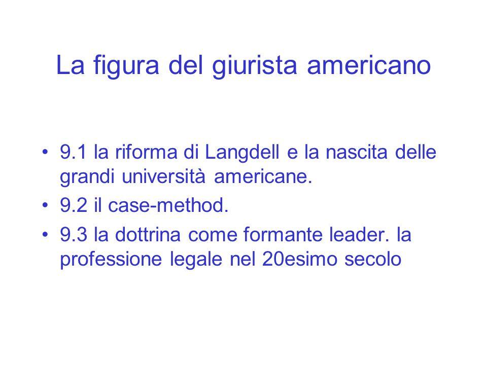 La figura del giurista americano 9.1 la riforma di Langdell e la nascita delle grandi università americane. 9.2 il case-method. 9.3 la dottrina come f
