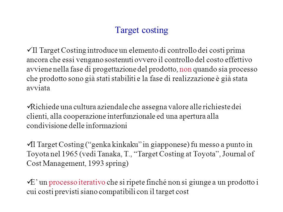 Target costing Il Target Costing introduce un elemento di controllo dei costi prima ancora che essi vengano sostenuti ovvero il controllo del costo ef