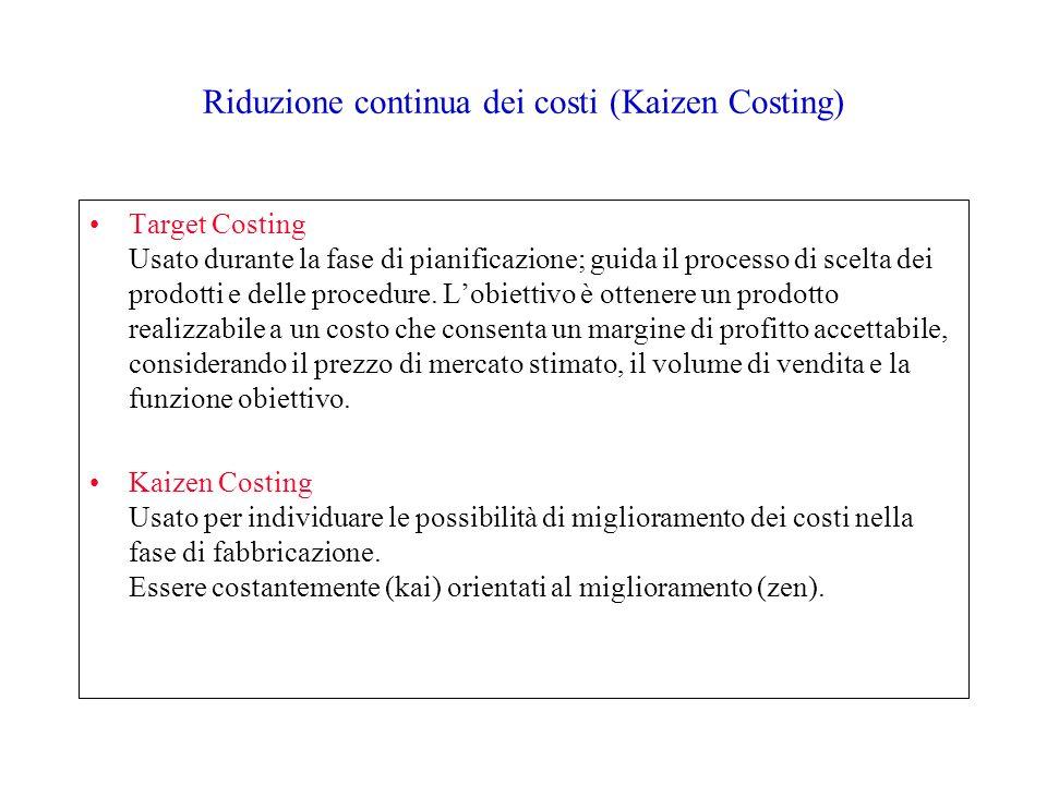 Riduzione continua dei costi (Kaizen Costing) Target Costing Usato durante la fase di pianificazione; guida il processo di scelta dei prodotti e delle